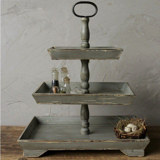 Rectangular 3 Tier Wooden Tray Tray Decor Tiered Stand Decor