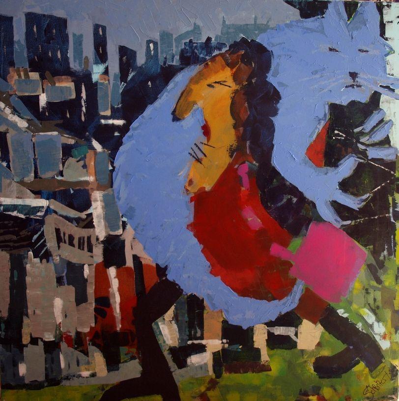 """EvaSchlitzer """"Keifende Frau mit verzweifelter Katze auf den Weg in die Großstadt"""", 100 x 100, Acryl auf Leinen, 2011"""