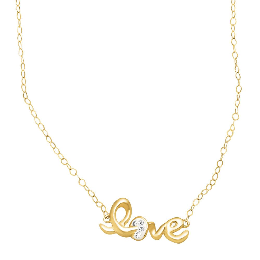 Crystaluxe Teeny-Tiny 'Love' Necklace with Swarovski Crystals in 14K Gold #JustGold #Necklaces