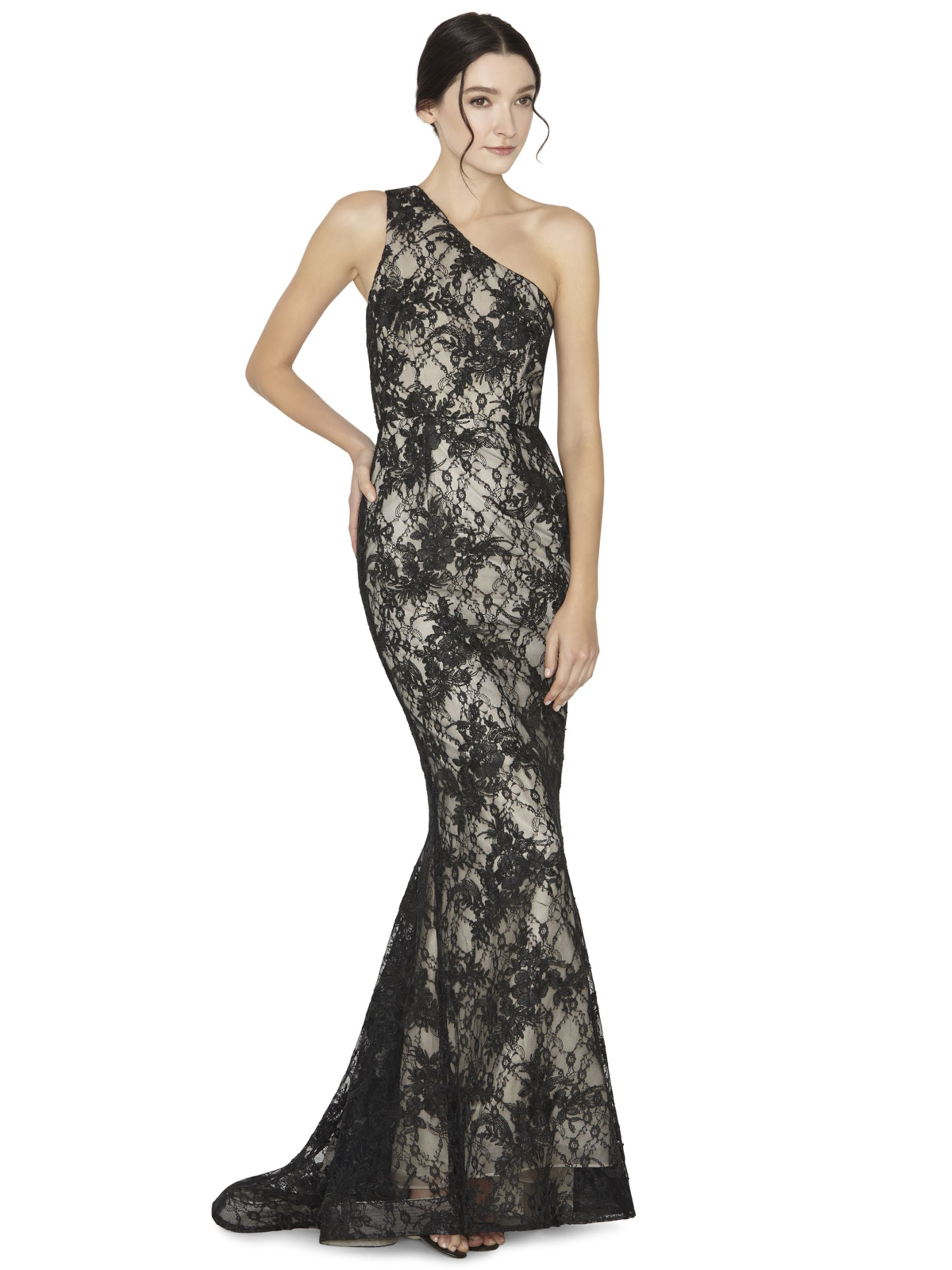 DION ONE SHOULDER FLARE LONG GOWN by Alice + Olivia