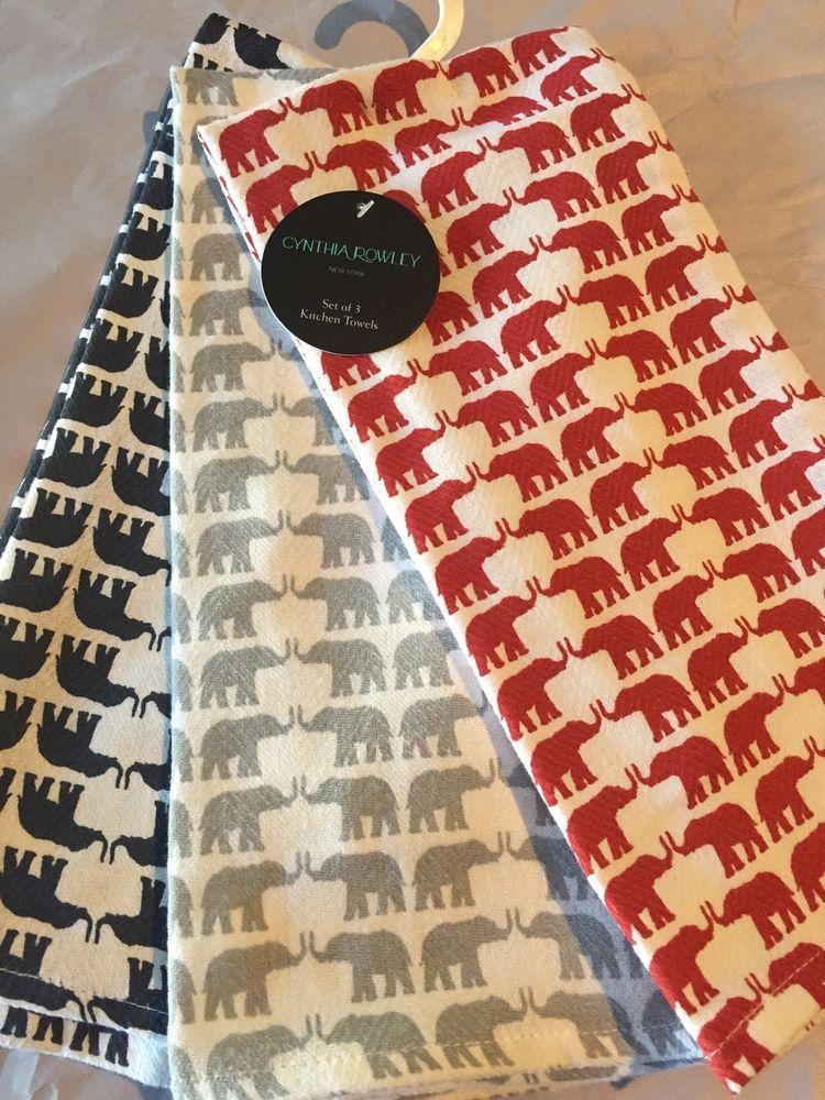 Cynthia Rowley Dish Towels Elephants Grey Red Navy Set Of 3 New 100 Cotton Cynthiarowley