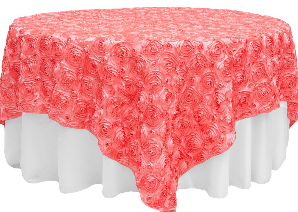 Rosette Satin Table Overlay Topper 85 X85 Coral Table