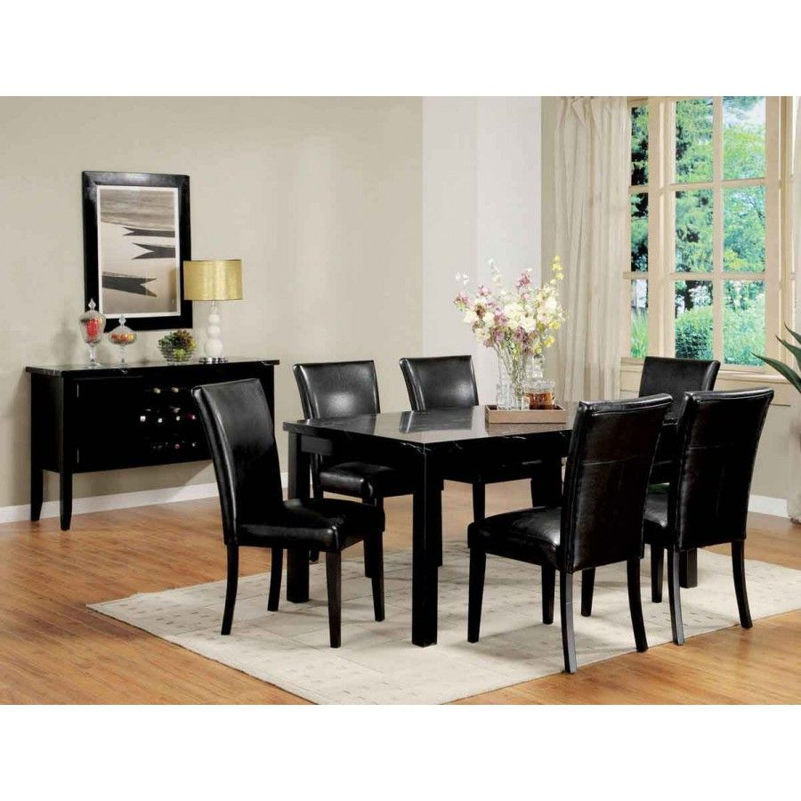 Dark Wood Dining Table And Chairs Laminate Flooring With Small Cream Carpet Below Black