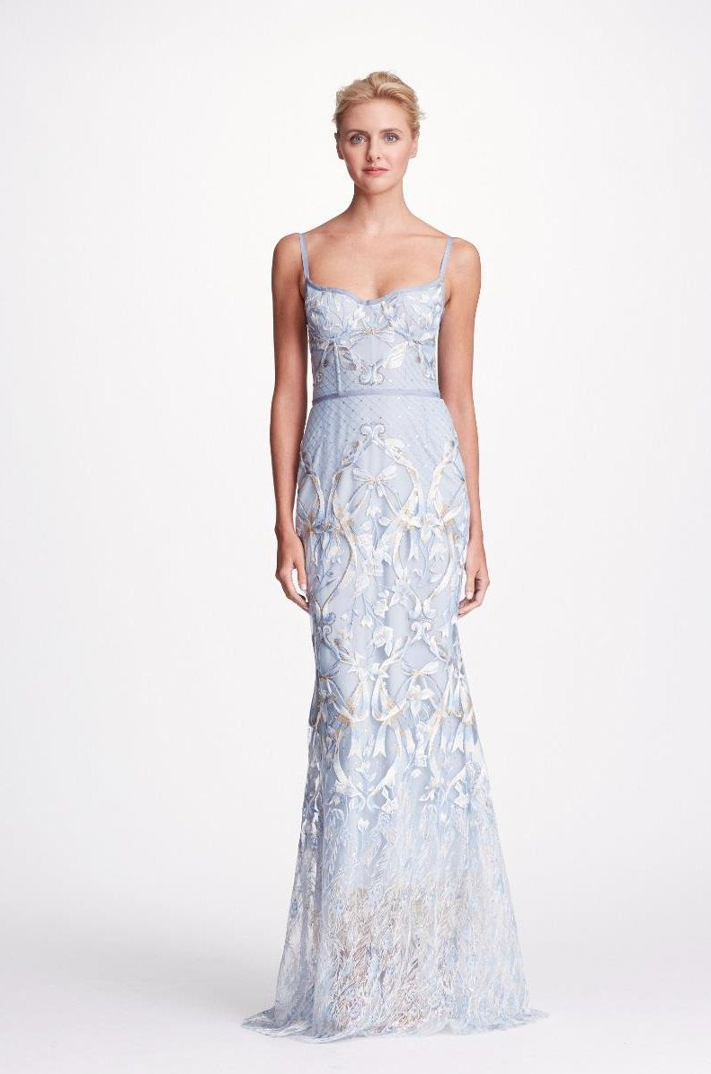 4659ef4eff37 MARCHESA NOTTE BLUE SLEEVELESS EMBROIDERED CORSET GOWN. #marchesanotte  #cloth #