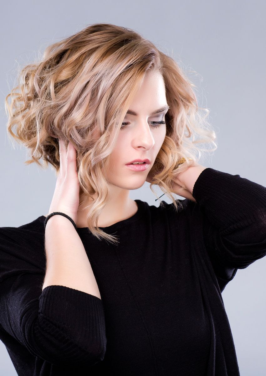 Long bob bei locken