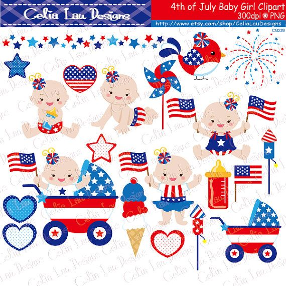 5fe73c0b4 4th of July Baby Girl Clipart  First Patriotic Day Clipart