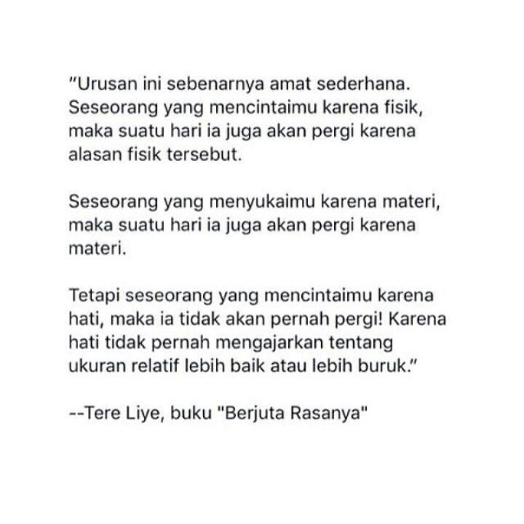 Cintai Seseorang Karena Hatinya Bukan Karena Fisik Maupun Materi