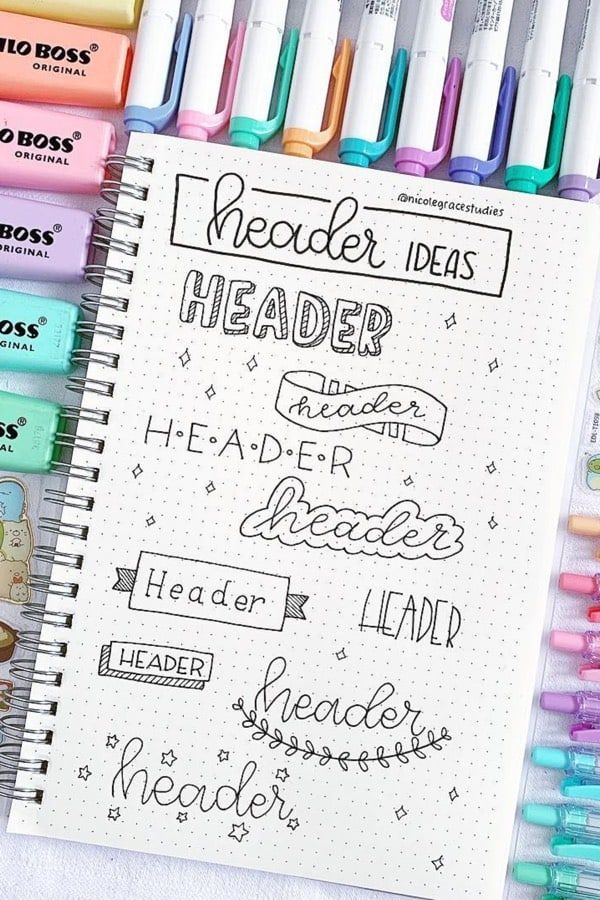 35+ Best Bullet Journal Header & Title Ideas For 2020 - Crazy Laura #aestheticnotes