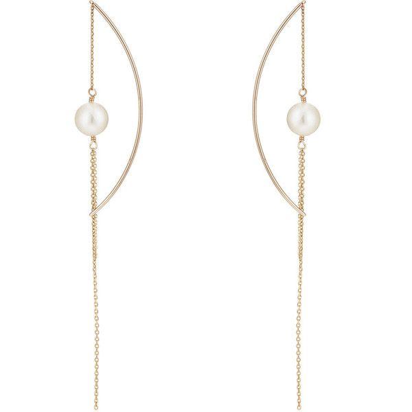 Hirotaka Womens Pearl Pull-Through Chain Earrings kP60c