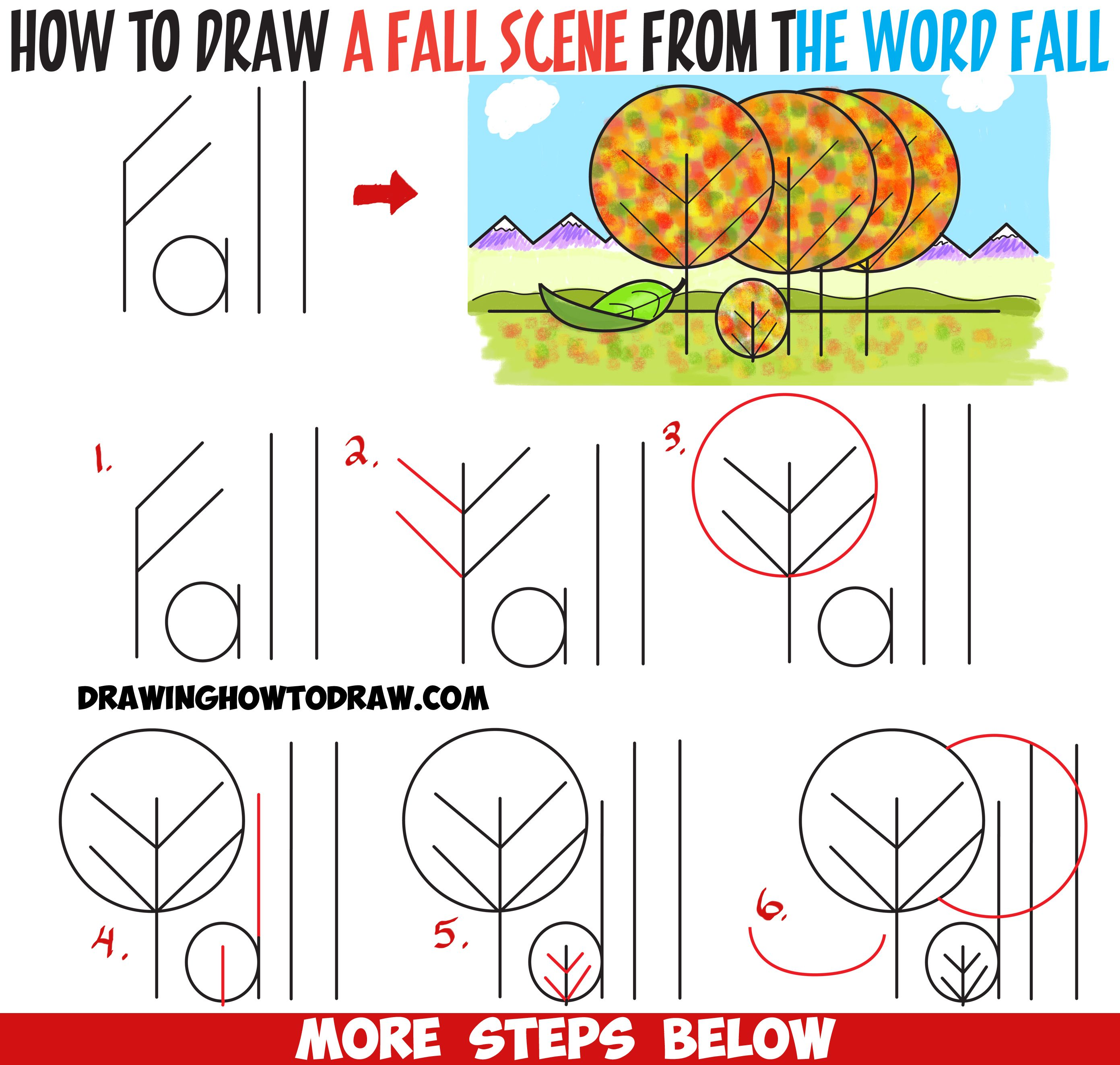 how to draw fall autumn scene from the word fall easy cartoon