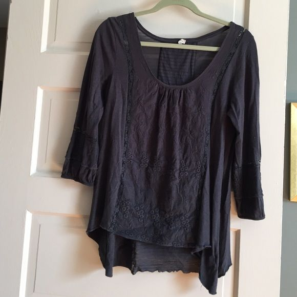 Peasant Shirt Dark grey, hand kerchief, embroidered peasant blouse with lace details. In good condition. Has a little hole along the inseam of the left shoulder a few stitches and it will be like new! Anthropologie Tops Tunics