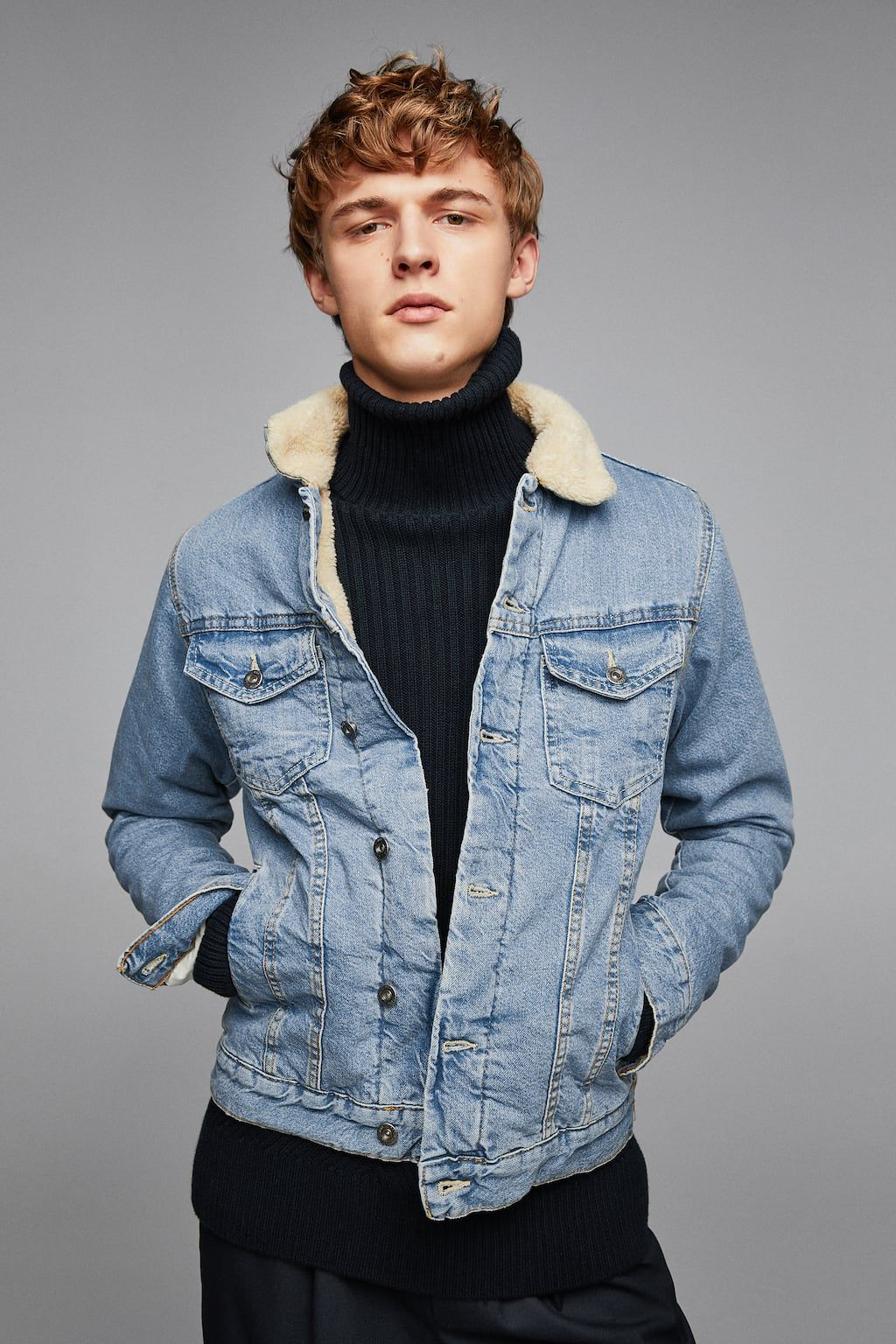 Imagen 1 De Cazadora Denim Borreguillo De Zara Jackets Denim Jacket Men Turtleneck Outfit [ 1536 x 1024 Pixel ]