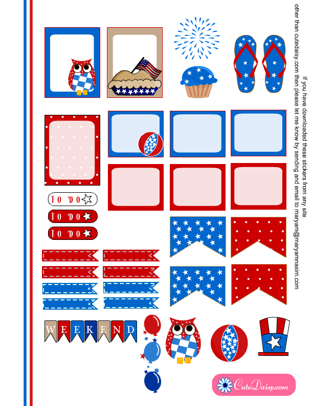 Free Printable 4th of July Stickers for ECLP