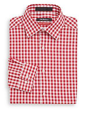 Saks Fifth Avenue Trim-Fit Gingham Check Dress Shirt -