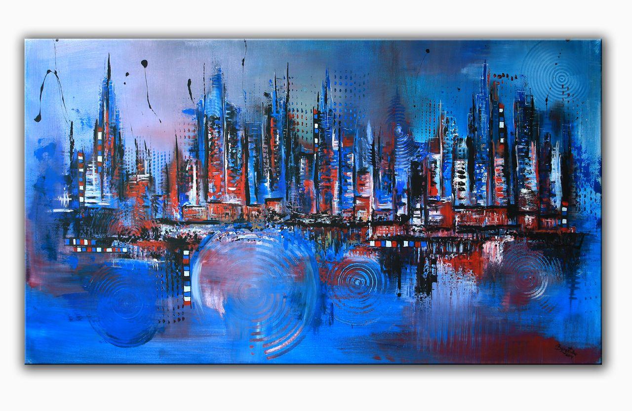 Gross blue skyline acrylbild abstrakt moderne malerei gemaelde original blau kunst kuenstler bild kaufen jpg 1280x833 kunst pinterest