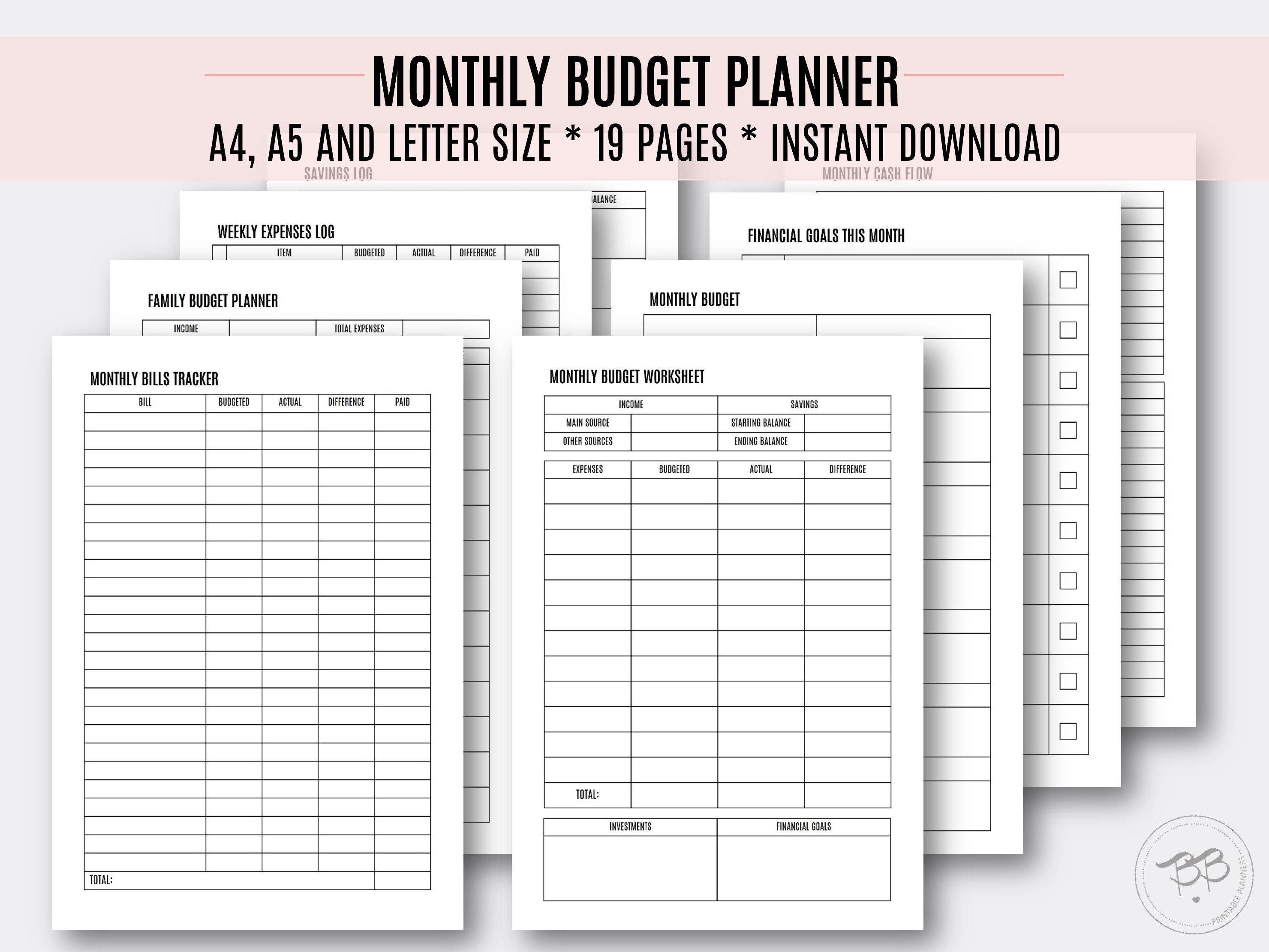 Monthly Budget Planner Budget Organizer Financial Goals