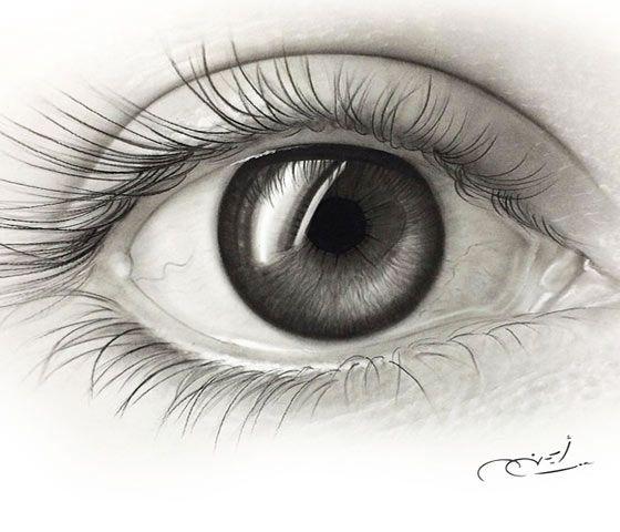 Realistic black and gray eye pencil drawing by artist ayman arts no 210