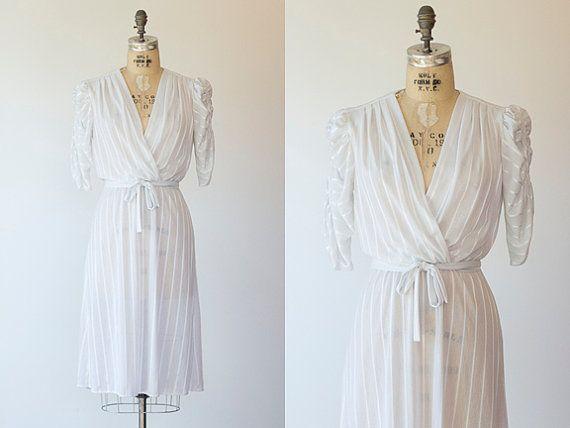 DOLMA dress  1970s white faux wrap dress  Vintage by GoldBanana