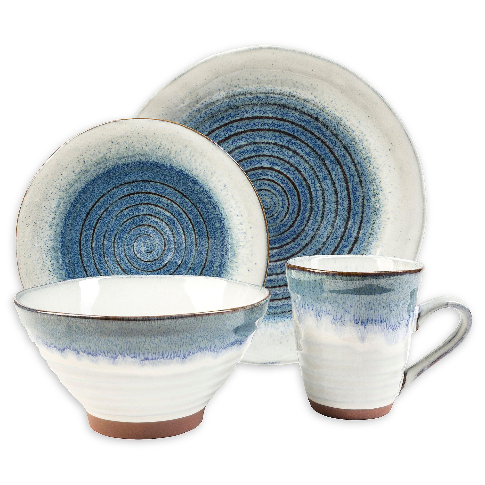 Sango Talia 16 Piece Dinnerware Set In Blue Bed Bath Beyond Stoneware Dinnerware Sets Blue Dinnerware Sets Blue Dinnerware