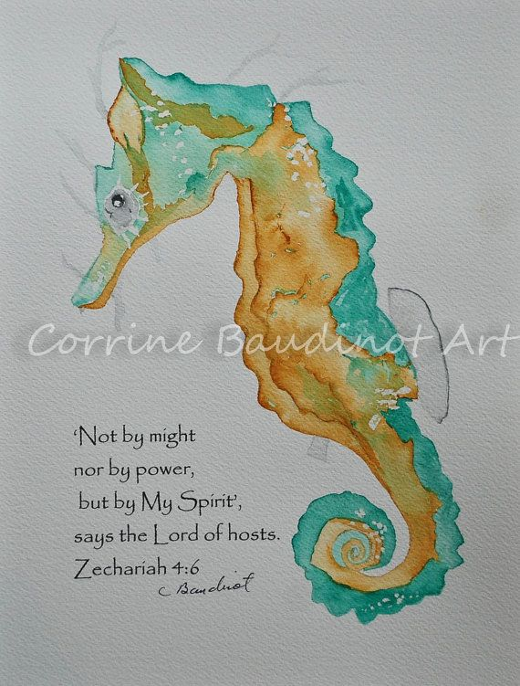 water color paintings of seahorses   watercolor painting of golden and turquoise blue seahorse 8x10