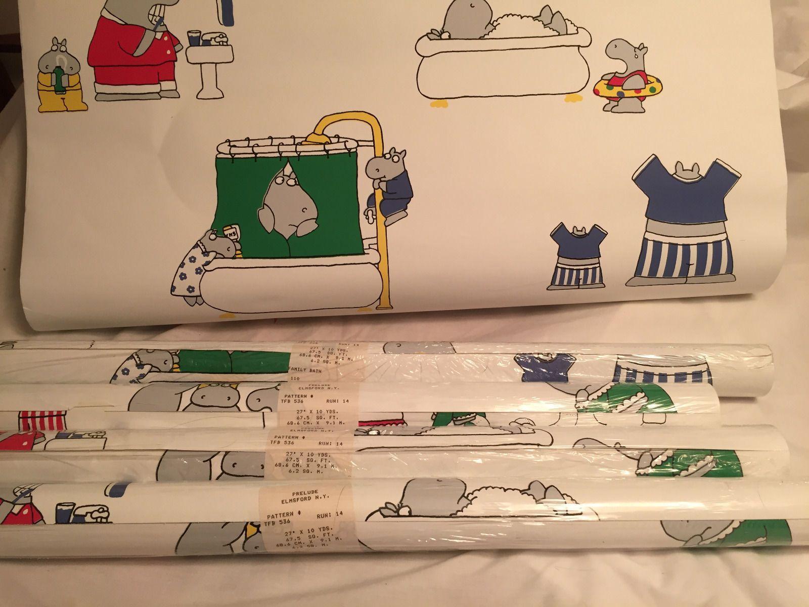 Vintage 80s Sandra Boynton Wallpaper 4 rolls Hippo Family Bath