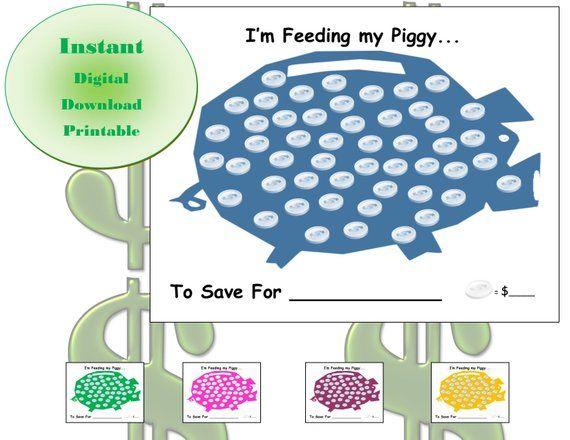 Kids Savings Coloring Tracker Piggy Bank Etsy Piggy