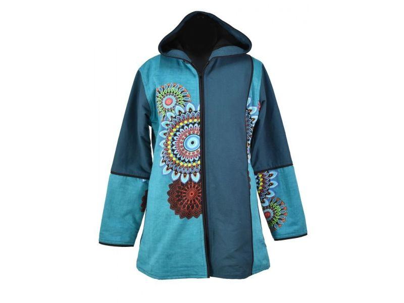 8f1a98cb7c3 Tyrkysový kabát s kapucí zapínaný na zip