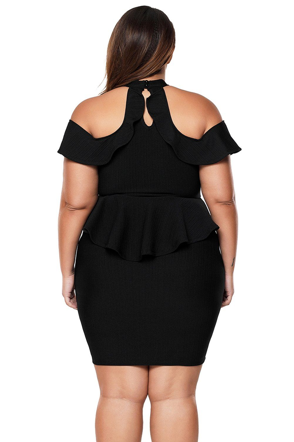 Black Plus Size Cold Shoulder Peplum Bodycon Dress in 2019 ...