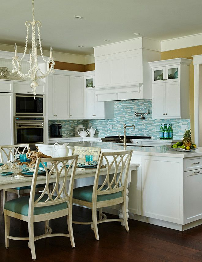 Turquoise Kitchen. White And Turquoise Kitchen. Coastal Turquoise Kitchen.  White Kitchen With Turquoise