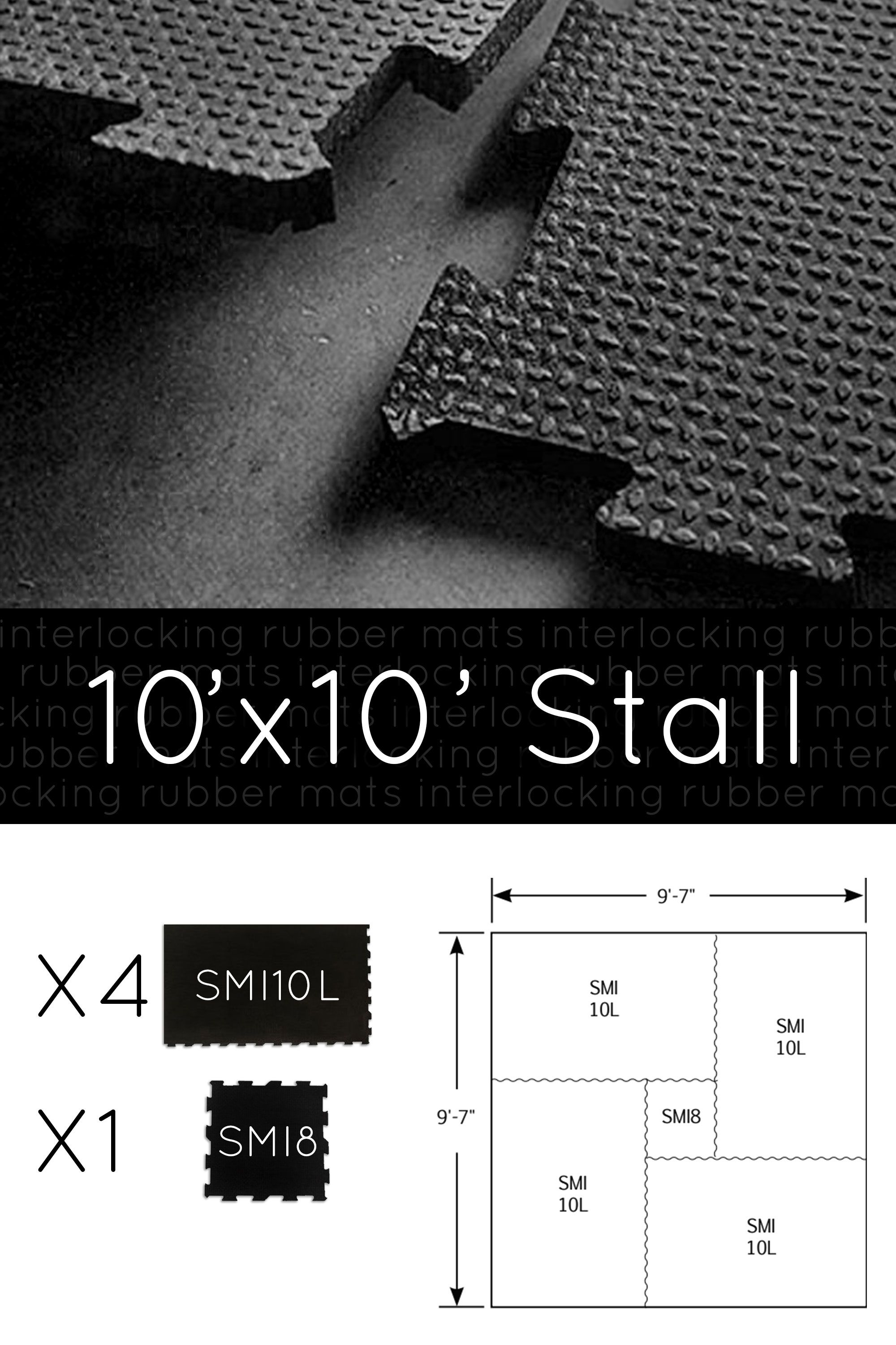 Interlocking Horse Stall Mats Kit 10 X 10 Layout Configuration Stall Matting Horse Stalls Stall Mats Horse