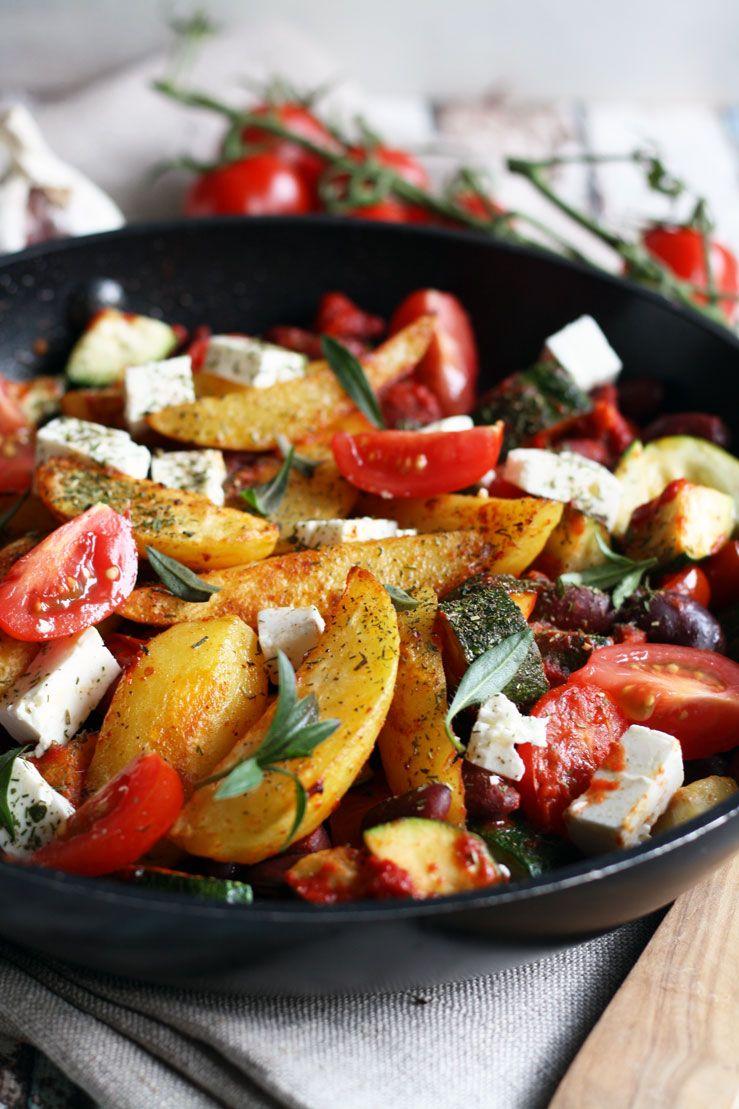 Kartoffel Wedges mit Gemüse - 30 Minuten Rezept #kartoffeleckenbackofen