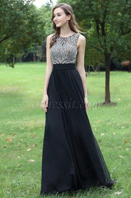 Black Beaded Chiffon Christmas Prom Dress (36170100) in 2018  3818dc938