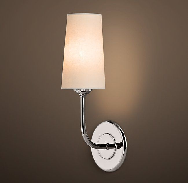 Restoration Hardware Modern Taper Sconce with Linen Shade. Finish ...