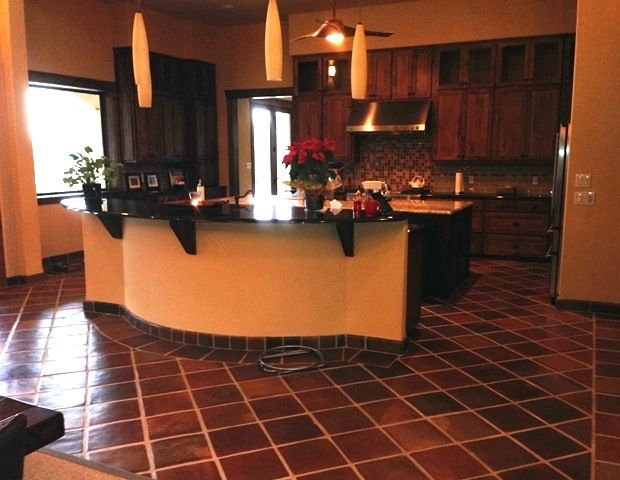 12x12 Manganese Saltillo Mexican Terracotta Kitchen Floor