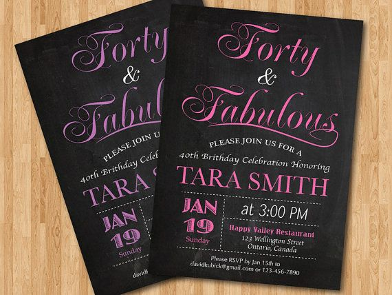 40th birthday invitation for women pink purple blue any color