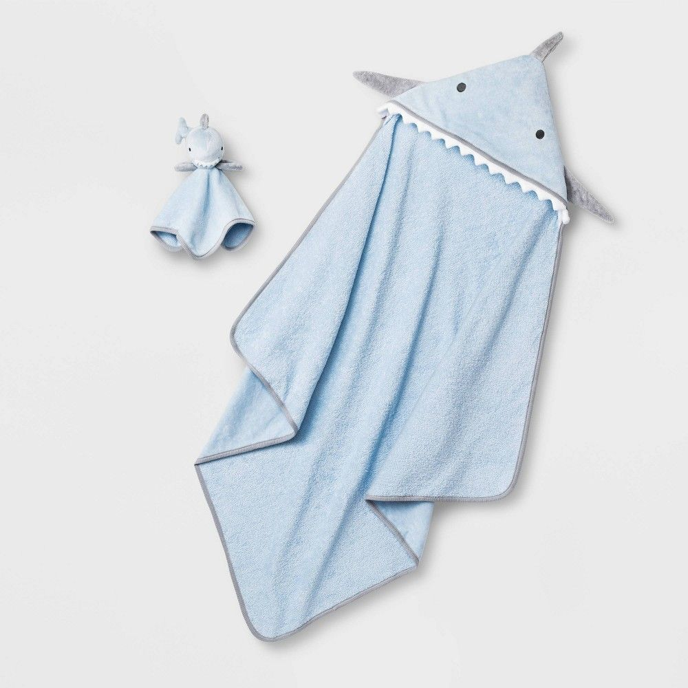 Baby Boys Shark Hooded Bath Towel And Washcloth Set Cloud