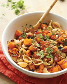 The sweet, fibrous flesh of autumn pumpkins just begs to be roasted. Nutritionally speaking, they're hard to beat, topping the list of superfoods with plenty of protein, fiber, vitamin C, potassium, and beta-carotene. Plus, they're low in calories (just 49 per cup), making them the perfect anchor for a hearty pasta dish with anchovies and toasted walnuts.
