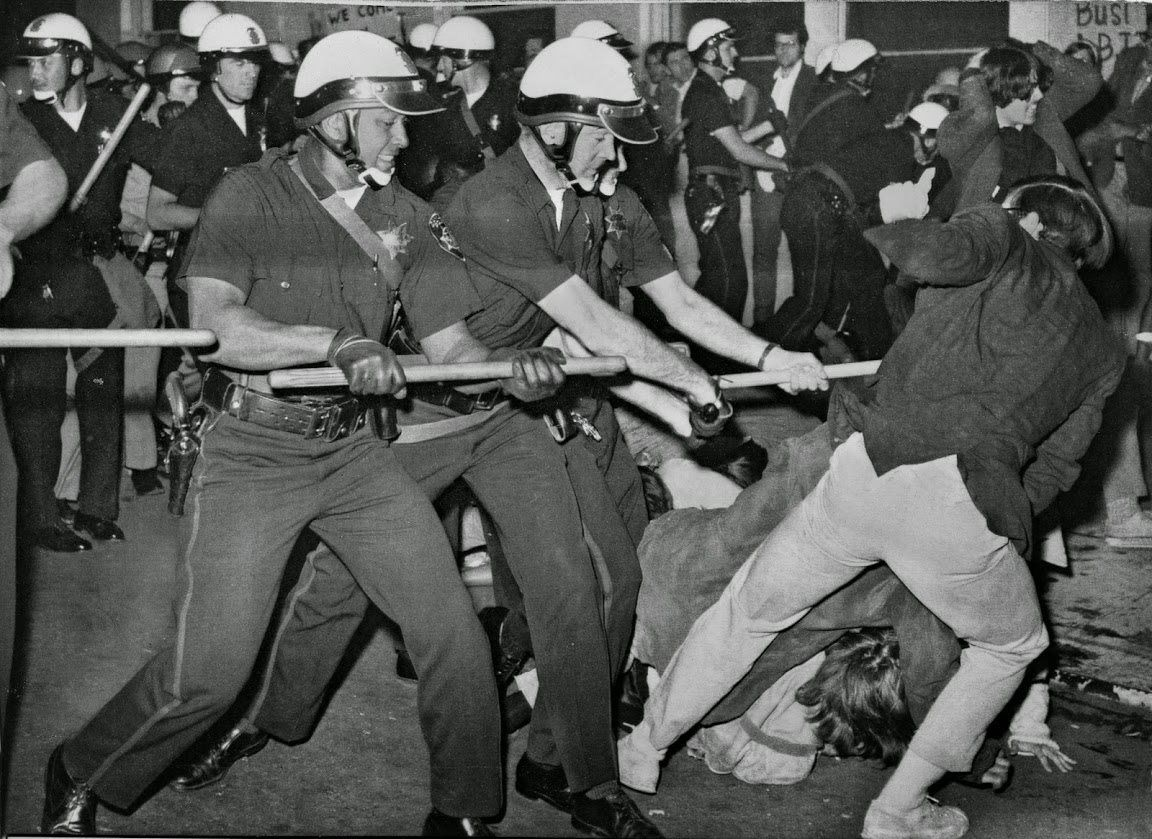 1967 Draft protests at induction center - 1400-1500 Blk Clay St - Upper left: Doug Crain #6211; Larry Pries #6252