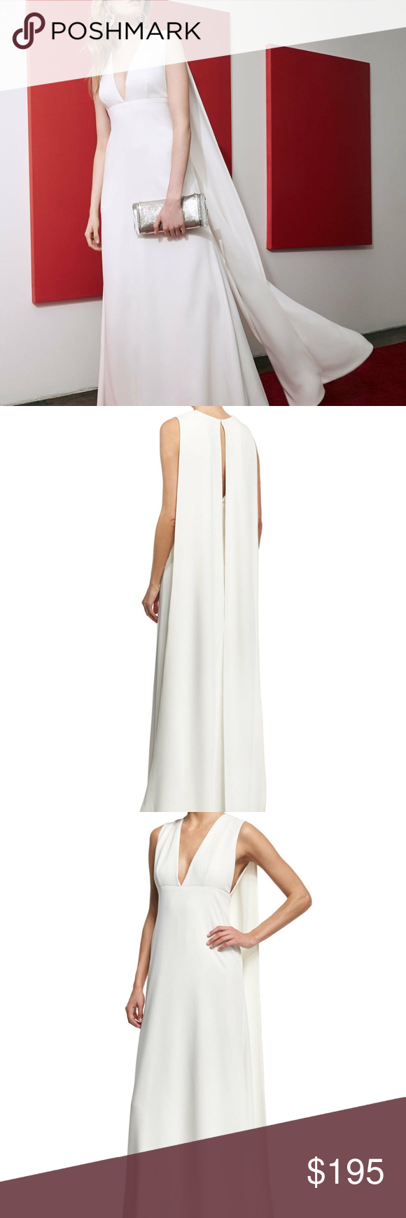Jill Jill Stuart Sleeveless V Neck Cape Gown Belted Shift Dress Jill Stuart Dress Cape Gown [ 1740 x 580 Pixel ]