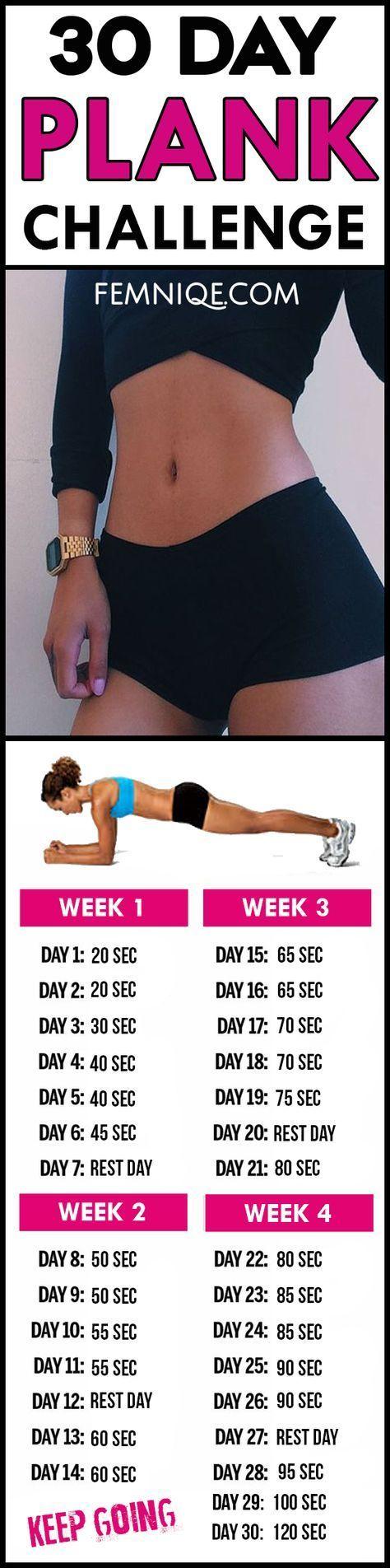 Leistungsstarke 30-Tage-Plank-Herausforderung für Anfänger vor und nach … - Fitness #fitnesschallenges