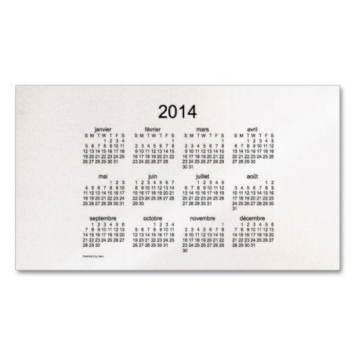 2014 Francias Cartes De Visite Calendrier Business Card Design From Calendars By Janz