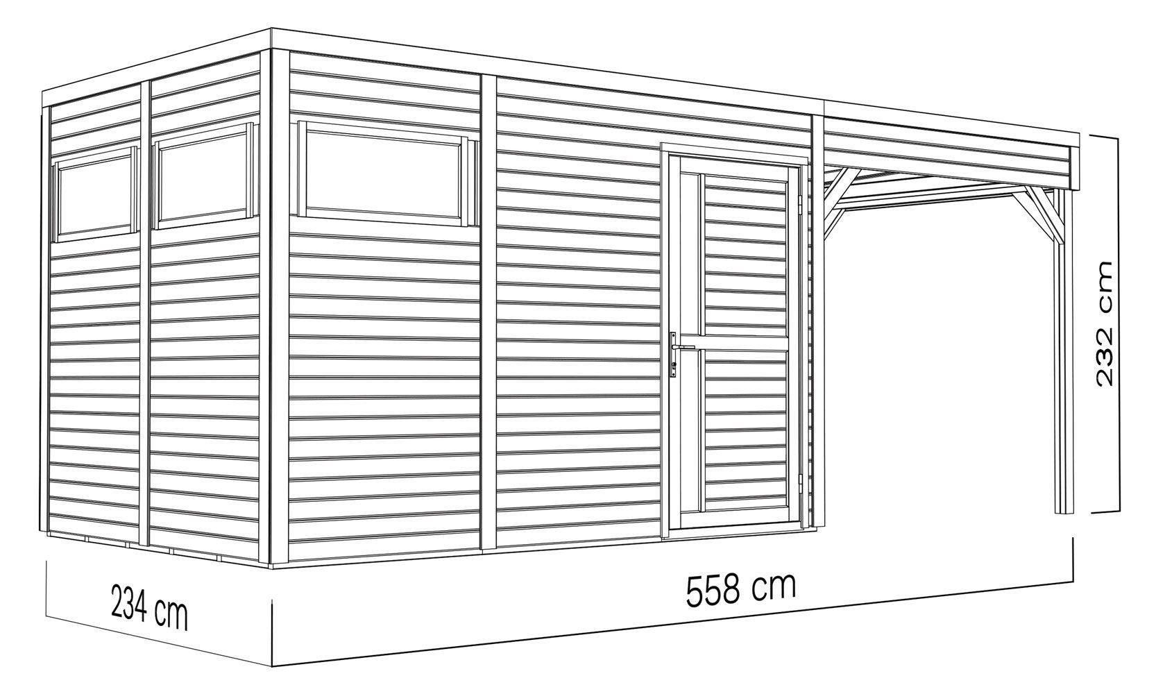 Element Gartenhaus Mit Flachdach Inkl Uberdachtem Anbau Fussboden Und Dachpappe Naturbelassen 19 Mm Nutzflache 7 70 M In 2021 Gartenhaus Flachdach Dachpappe