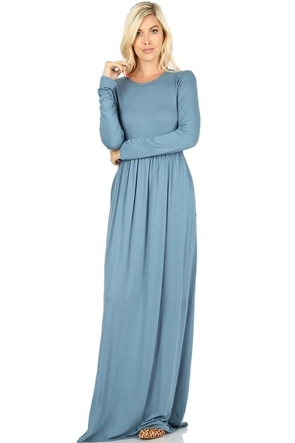 Sportoli Maxi Dresses for Women Solid Lightweight Long Casual Long Sleeve W//Pocket