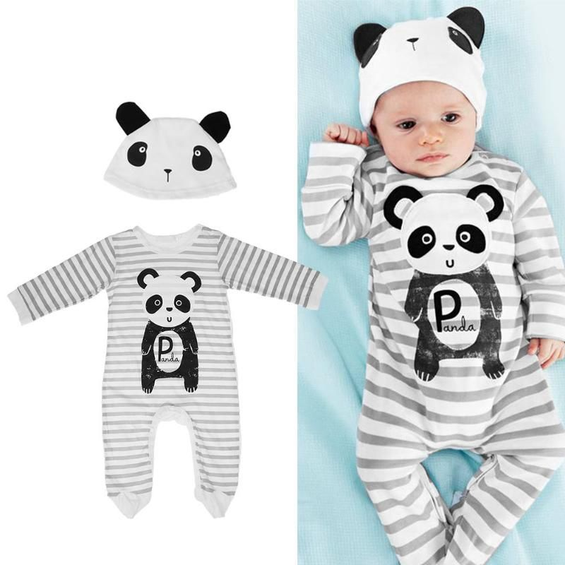 f7723455bcad 2pcs set Autumn Baby Romper Clothes One Piece Toddler Baby Striped ...