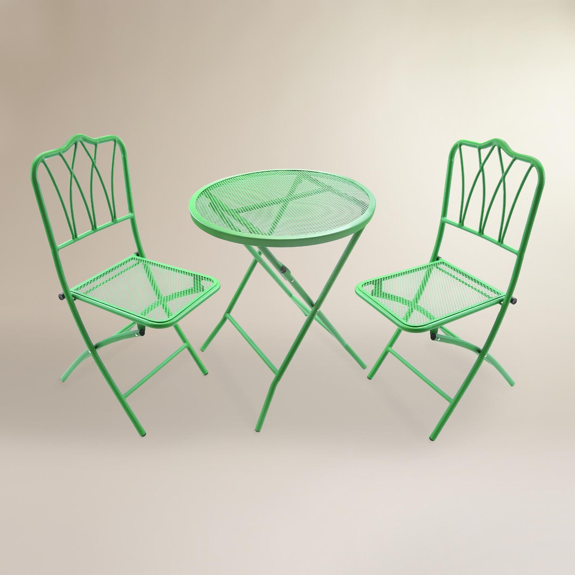 green metal bistro chairs outdoor wood lounge chair finished in vibrant our set brings an iconic look and a pop of color to your garden or patio this fully assembled features table