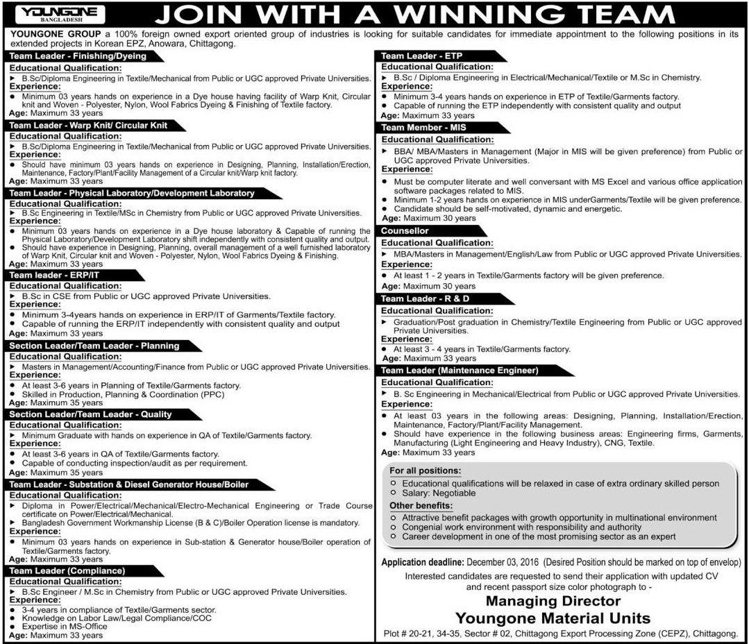 Youngone Group Job Circular | Job Circular in 2019 | Job circular