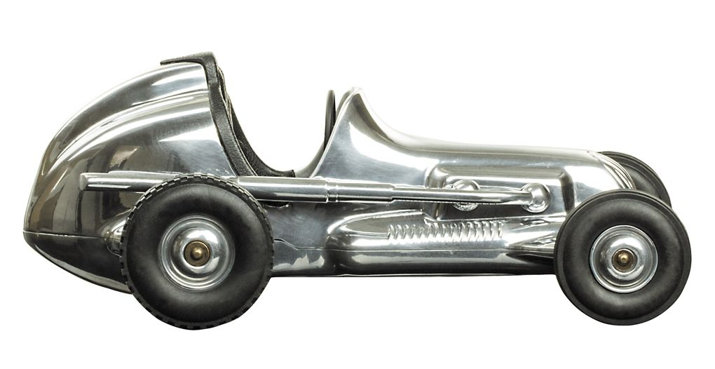 """White Indianapolis Spindizzy Aluminum Model Tether Car Replica 12/"""" Gift Boxed"""