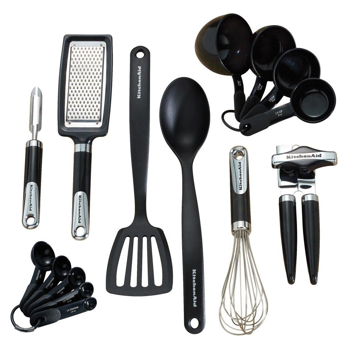 Kitchenaid black 15pc kitchen tool gadget set kitchen