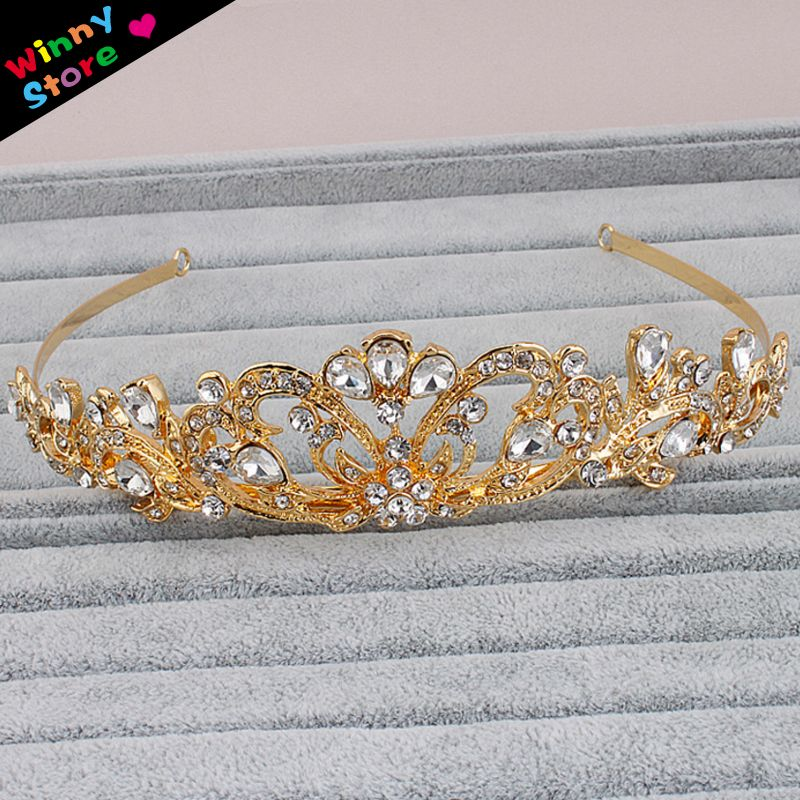 Heißer Verkauf Barock Braut Kristall Tiara Gold Farbe Krone Strass ...