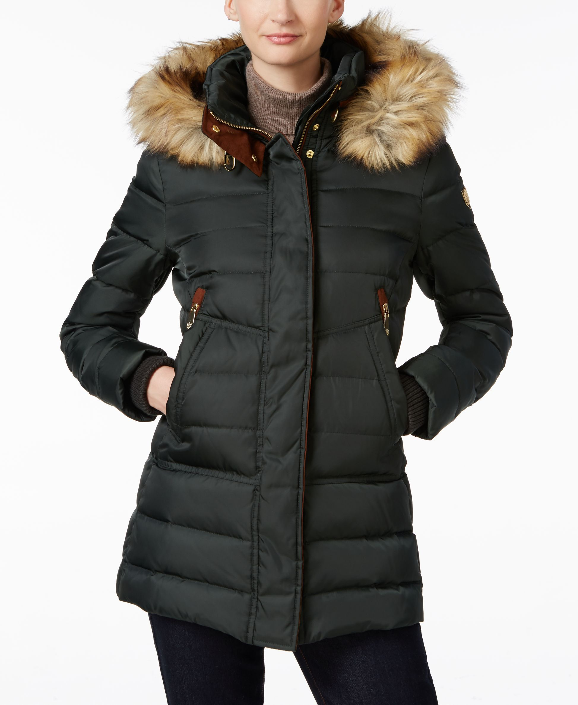 white belted camuto gallery jacket in down normal dove with lyst vince trim clothing quilt fur faux quilted product